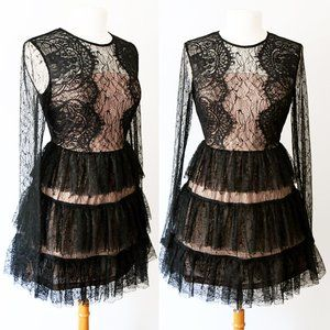 Black Lace Overlay Tiered Ruffle Romantic Dress
